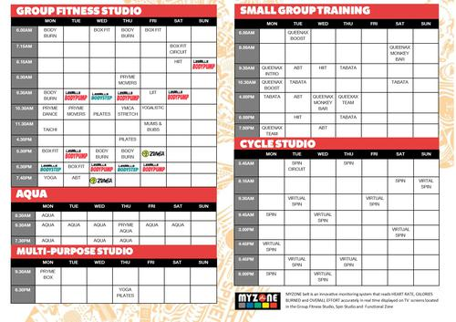 New fitness timetable!