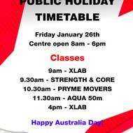 Australia Day Group Fitness Timetable