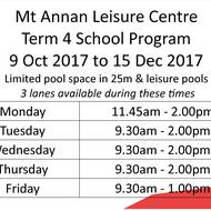 Mt Annan Leisure Centre Term 4 School Program