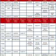 Christmas Group Fitness Timetable