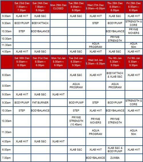 Christmas Group Fitness Timetable